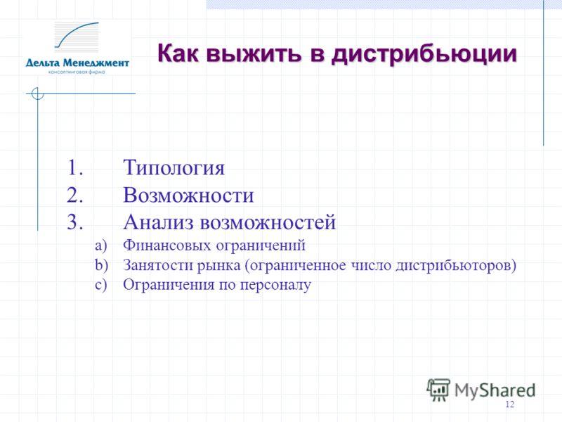 12 Как выжить в дистрибьюции 1.Типология 2. Возможности 3. Анализ возможностей a)Финансовых ограничений b)Занятости рынка (ограниченное число дистрибьюторов) c)Ограничения по персоналу
