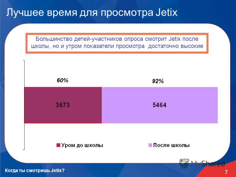 7 Лучшее время для просмотра Jetix Большинство детей-участников опроса смотрит Jetix после школы, но и утром показатели просмотра достаточно высокие Когда ты смотришь Jetix? 60% 92%
