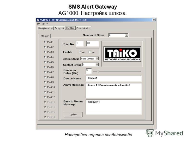SMS Alert Gateway AG1000. Настройка шлюза. Настройка портов ввода/вывода