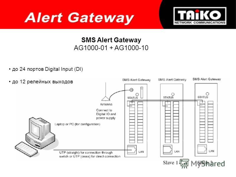 SMS Alert Gateway AG1000-01 + AG1000-10 до 24 портов Digital Input (DI) до 12 релейных выходов