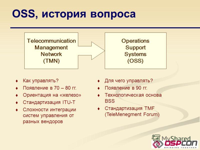 OSS, история вопроса Telecommunication Management Network (TMN) Operations Support Systems (OSS) Как управлять? Появление в 70 – 80 гг. Ориентация на «железо» Стандартизация ITU-T Сложности интеграции систем управления от разных вендоров Для чего упр