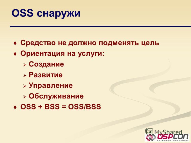 OSS снаружи Средство не должно подменять цель Ориентация на услуги: Создание Развитие Управление Обслуживание OSS + BSS = OSS/BSS