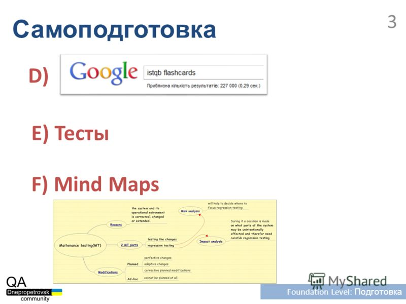 Самоподготовка Foundation Level: Подготовка 3 D) E) Тесты F) Mind Maps