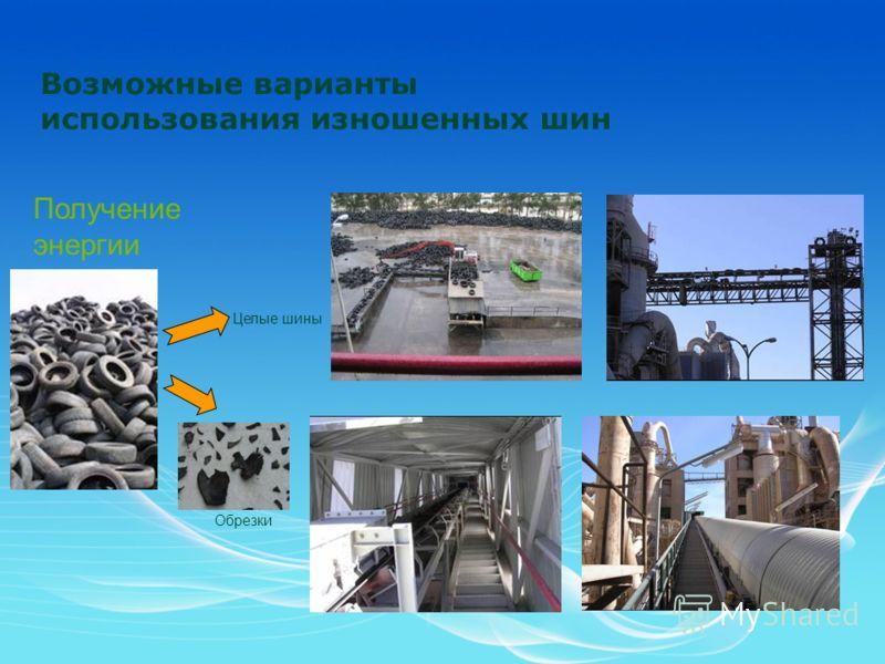 Возможные варианты использования изношенных шин Получение энергии Обрезки Целые шины