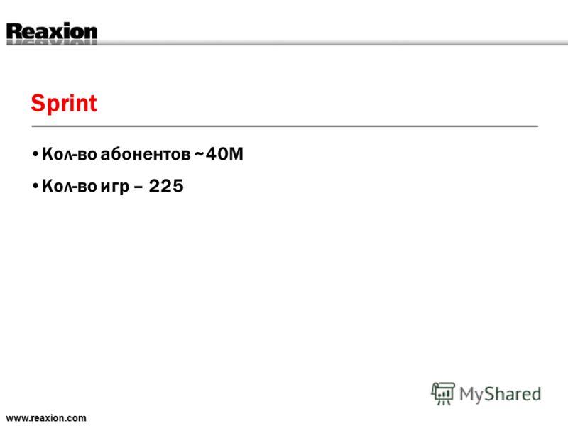 Sprint www.reaxion.com Кол-во абонентов ~40M Кол-во игр – 225