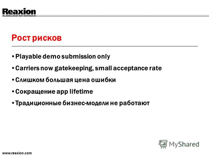 Рост рисков www.reaxion.com Playable demo submission only Carriers now gatekeeping, small acceptance rate Слишком большая цена ошибки Сокращение app lifetime Традиционные бизнес-модели не работают
