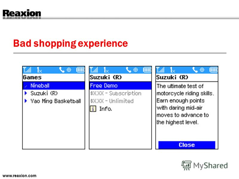 Bad shopping experience www.reaxion.com