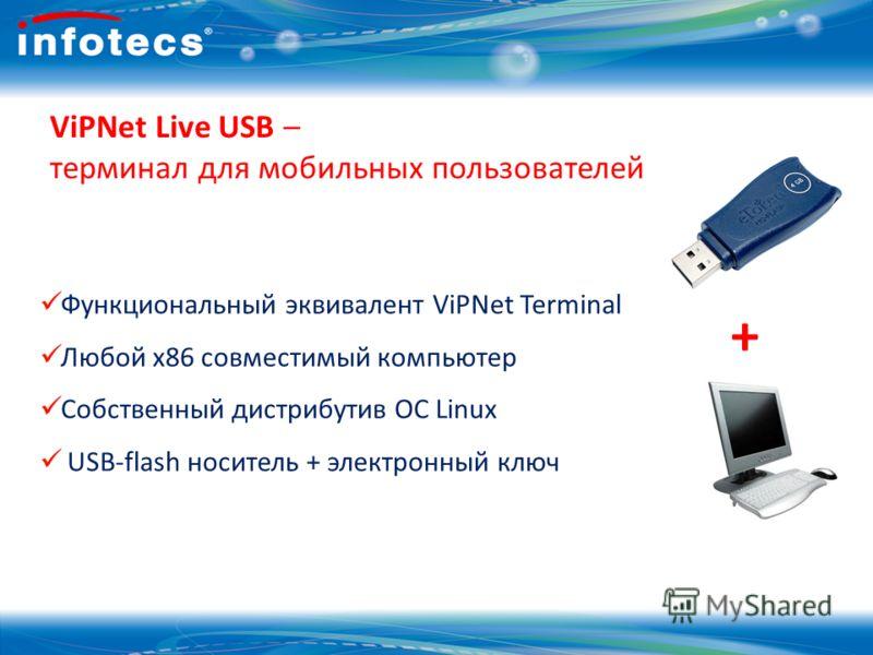 14 ViPNet Live USB – терминал для мобильных пользователей Функциональный эквивалент ViPNet Terminal Любой х86 совместимый компьютер Собственный дистрибутив ОС Linux USB-flash носитель + электронный ключ +