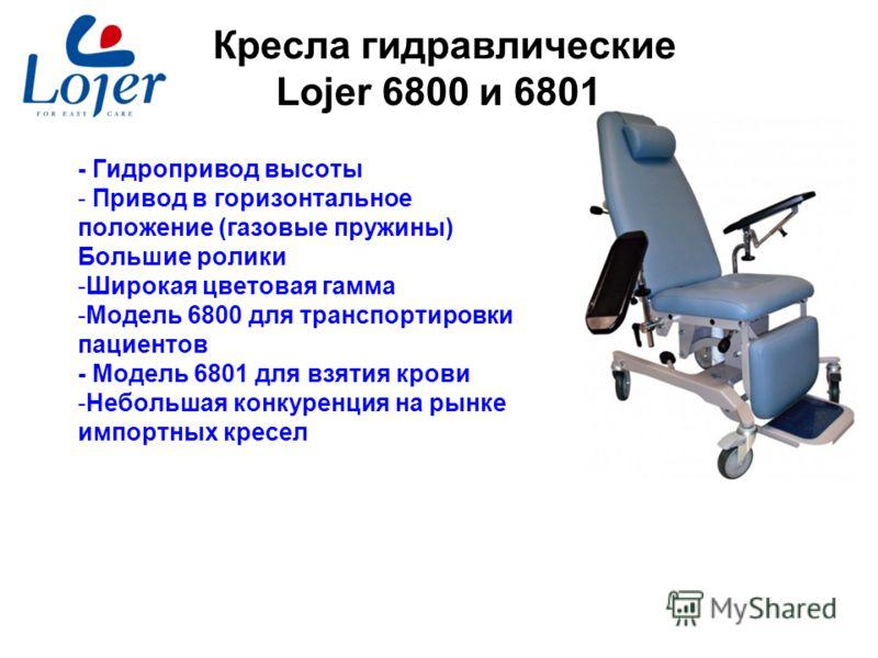 www.lojer.com Кресла гидравлические Lojer 6800 и 6801 - Гидропривод высоты - Привод в горизонтальное положение (газовые пружины) Большие ролики -Широкая цветовая гамма -Модель 6800 для транспортировки пациентов - Модель 6801 для взятия крови -Небольш