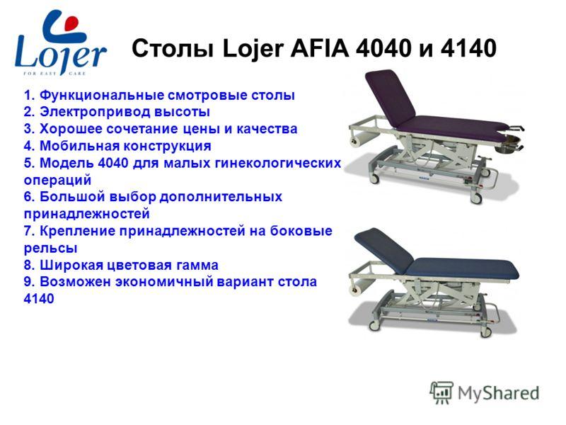 www.lojer.com Столы Lojer AFIA 4040 и 4140 1. Функциональные смотровые столы 2. Электропривод высоты 3. Хорошее сочетание цены и качества 4. Мобильная конструкция 5. Модель 4040 для малых гинекологических операций 6. Большой выбор дополнительных прин