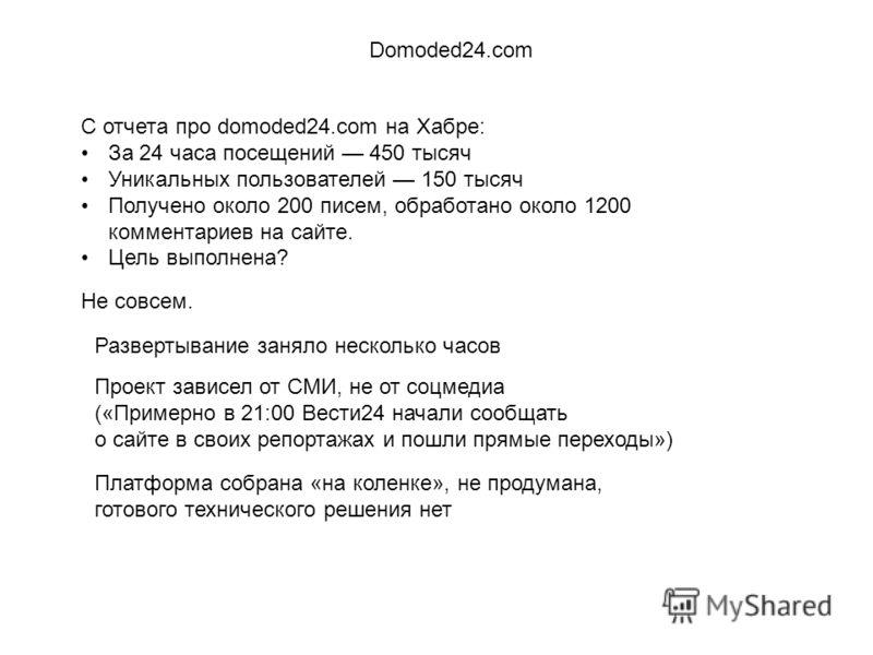 С отчета про domoded24.com на Хабре: За 24 часа посещений 450 тысяч Уникальных пользователей 150 тысяч Получено около 200 писем, обработано около 1200 комментариев на сайте. Цель выполнена? Domoded24.com Не совсем. Развертывание заняло несколько часо