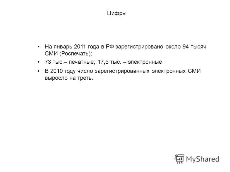 На январь 2011 года в РФ зарегистрировано около 94 тысяч СМИ (Роспечать); Цифры 73 тыс.– печатные; 17,5 тыс. – электронные В 2010 году число зарегистрированных электронных СМИ выросло на треть.