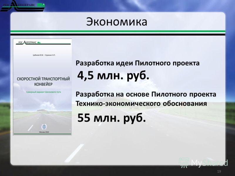 Экономика 19 4,5 млн. руб. Разработка идеи Пилотного проекта Разработка на основе Пилотного проекта Технико-экономического обоснования 55 млн. руб.