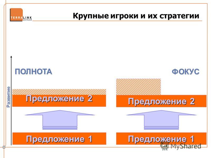 Крупные игроки и их стратегии Предложение 1 Развитие Предложение 2 ПОЛНОТА ФОКУС
