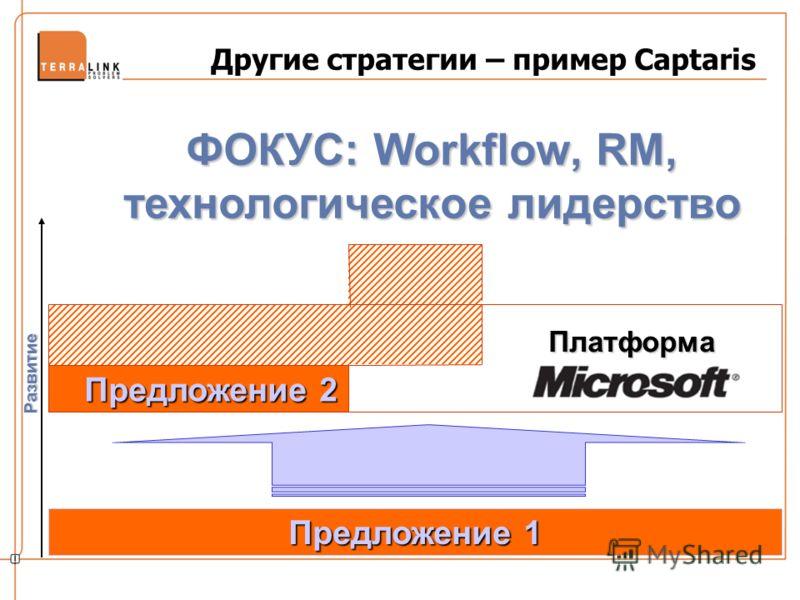 Другие стратегии – пример Captaris Развитие Предложение 1 Предложение 2 Предложение 2 Платформа ФОКУС: Workflow, RM, технологическое лидерство