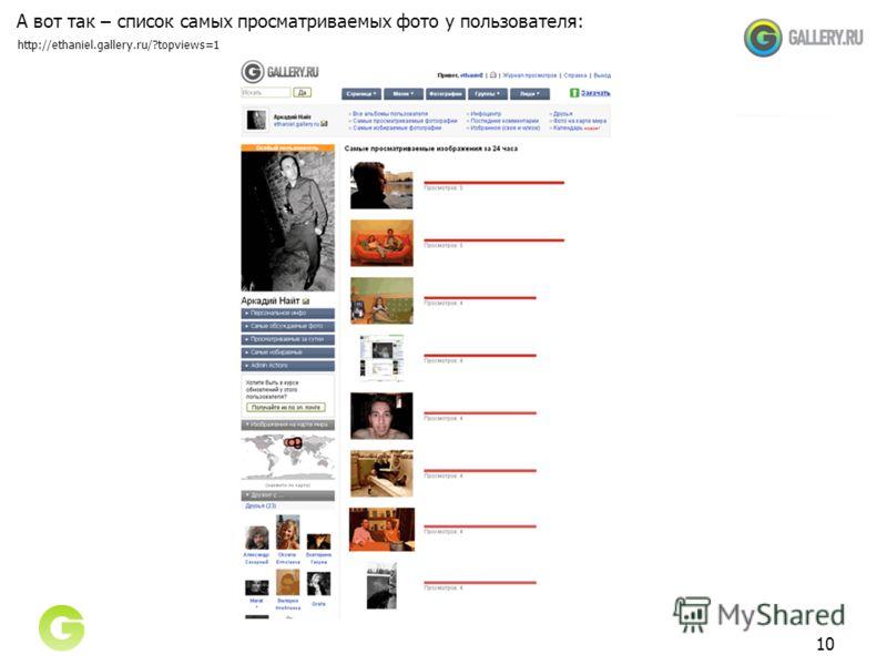 10 А вот так – список самых просматриваемых фото у пользователя: http://ethaniel.gallery.ru/?topviews=1