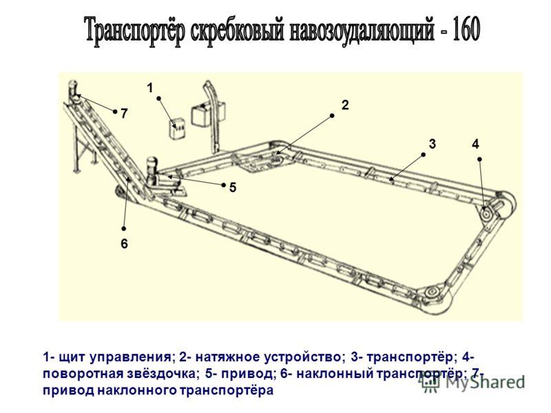 1 2 3 1- щит управления; 2- натяжное устройство; 3- транспортёр; 4- поворотная звёздочка; 5- привод; 6- наклонный транспортёр; 7- привод наклонного транспортёра 4 6 5 7