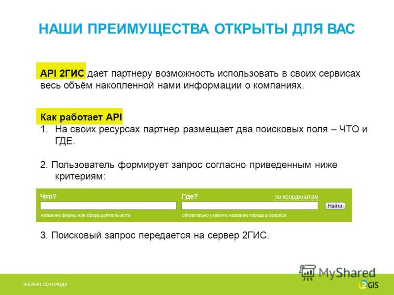 Как работает API 1.На своих ресурсах партнер размещает два поисковых поля – ЧТО и ГДЕ. 2. Пользователь формирует запрос согласно приведенным ниже критериям: 3. Поисковый запрос передается на сервер 2ГИС. ЭКСПЕРТ ПО ГОРОДУ НАШИ ПРЕИМУЩЕСТВА ОТКРЫТЫ ДЛ