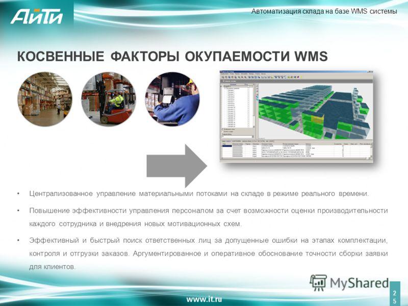 Автоматизация склада на базе WMS системы 25 Централизованное управление материальными потоками на складе в режиме реального времени. Повышение эффективности управления персоналом за счет возможности оценки производительности каждого сотрудника и внед