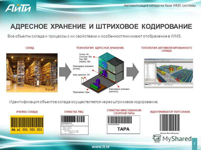 Автоматизация склада на базе WMS системы 7 Все объекты склада и процессы с их свойствами и особенностями имеют отображение в WMS. СКЛАД Идентификация объектов склада осуществляется через штриховое кодирование. ТЕХНОЛОГИЯ АДРЕСНОЕ ХРАНЕНИЕТОПОЛОГИЯ АВ