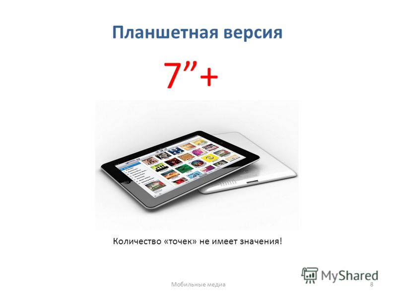 Планшетная версия 7+ Количество «точек» не имеет значения! Мобильные медиа8