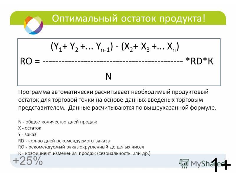 Оптимальный остаток продукта! (Y 1 + Y 2 +... Y n-1 ) - (X 2 + X 3 +... X n ) RO = -------------------------------------------- *RD*К N 1+ +25% Программа автоматически расчитывает необходимый продуктовый остаток для торговой точки на основе данных вв
