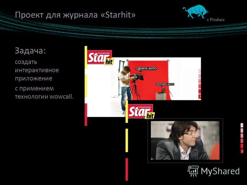 Проект для журнала «Starhit» Задача: создать интерактивное приложение с примением технологии wowcall.