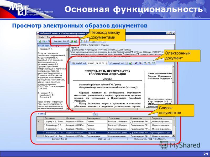 24 Основная функциональность Просмотр электронных образов документов