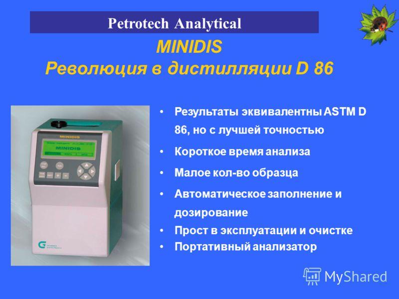 MINIDIS Революция в дистилляции D 86 Результаты эквивалентны ASTM D 86, но с лучшей точностью Короткое время анализа Малое кол-во образца Автоматическое заполнение и дозирование Прост в эксплуатации и очистке Портативный анализатор Petrotech Analytic