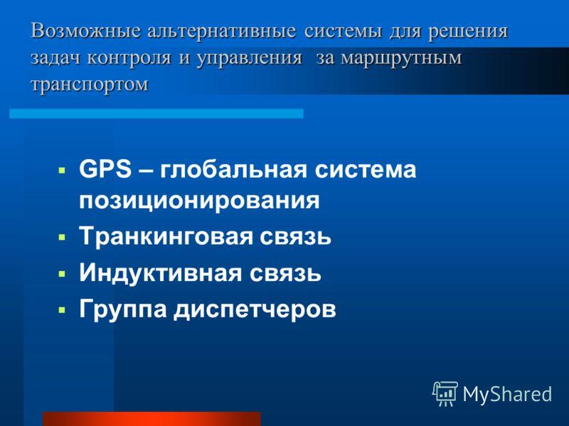 Возможные альтернативные системы для решения задач контроля и управления за маршрутным транспортом GPS – глобальная система позиционирования Транкинговая связь Индуктивная связь Группа диспетчеров