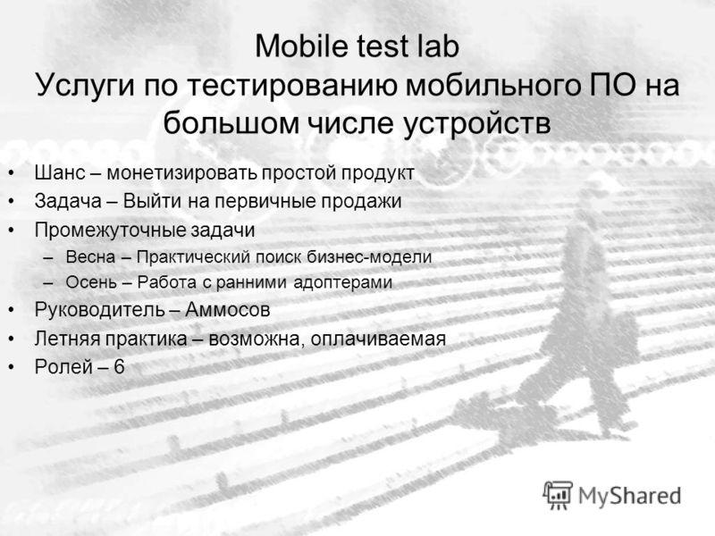 Mobile test lab Услуги по тестированию мобильного ПО на большом числе устройств Шанс – монетизировать простой продукт Задача – Выйти на первичные продажи Промежуточные задачи –Весна – Практический поиск бизнес-модели –Осень – Работа с ранними адоптер