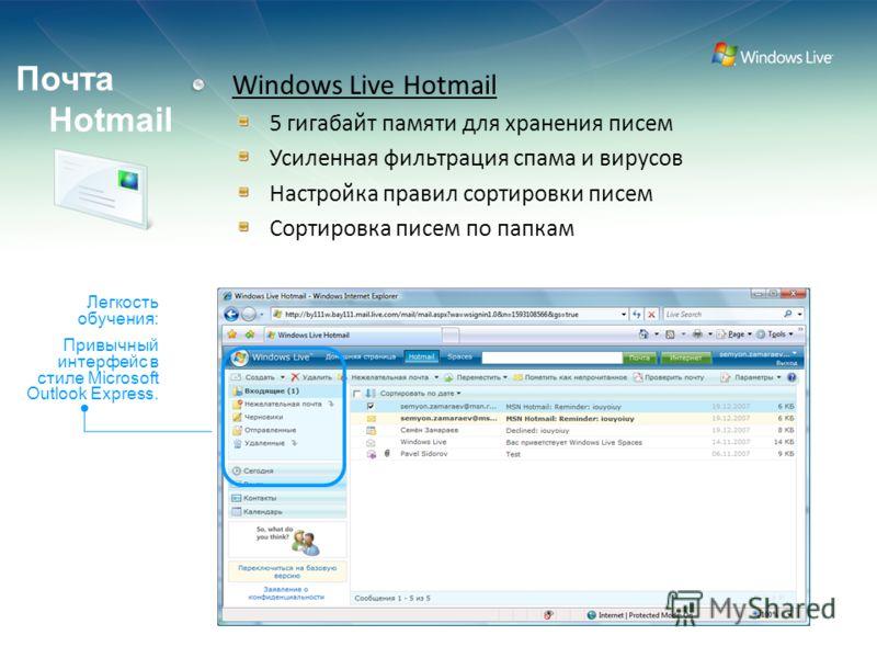Confidential (Restricted) - Use pursuant to Company instructions Почта Hotmail Windows Live Hotmail 5 гигабайт памяти для хранения писем Усиленная фильтрация спама и вирусов Настройка правил сортировки писем Сортировка писем по папкам Легкость обучен