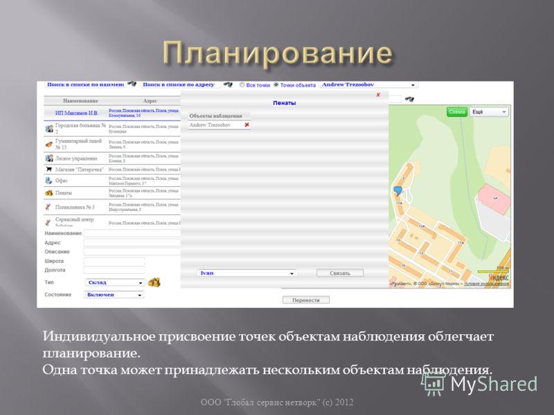 ООО  Глобал сервис нетворк  ( с ) 2012 Индивидуальное присвоение точек объектам наблюдения облегчает планирование. Одна точка может принадлежать нескольким объектам наблюдения.