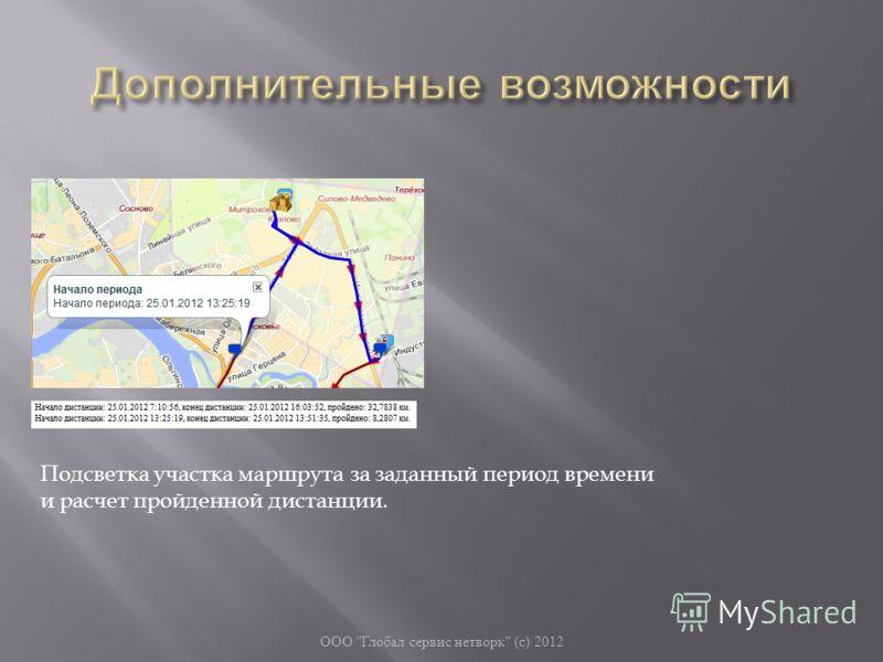 ООО  Глобал сервис нетворк  ( с ) 2012 Подсветка участка маршрута за заданный период времени и расчет пройденной дистанции.