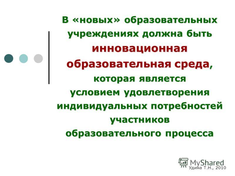 В «новых» образовательных учреждениях должна быть инновационная образовательная среда, которая является условием удовлетворения индивидуальных потребностей участников образовательного процесса Удина Т.Н., 2010