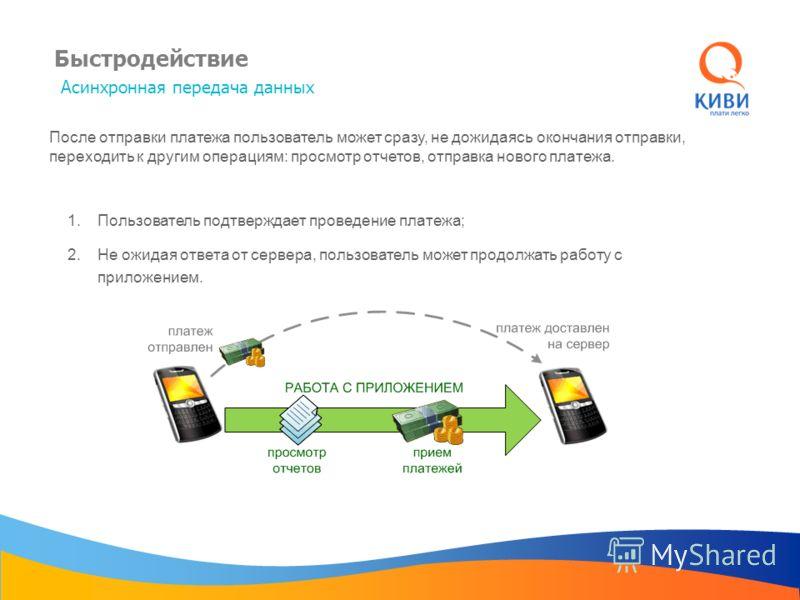 Быстродействие Асинхронная передача данных После отправки платежа пользователь может сразу, не дожидаясь окончания отправки, переходить к другим операциям: просмотр отчетов, отправка нового платежа. 2.Не ожидая ответа от сервера, пользователь может п
