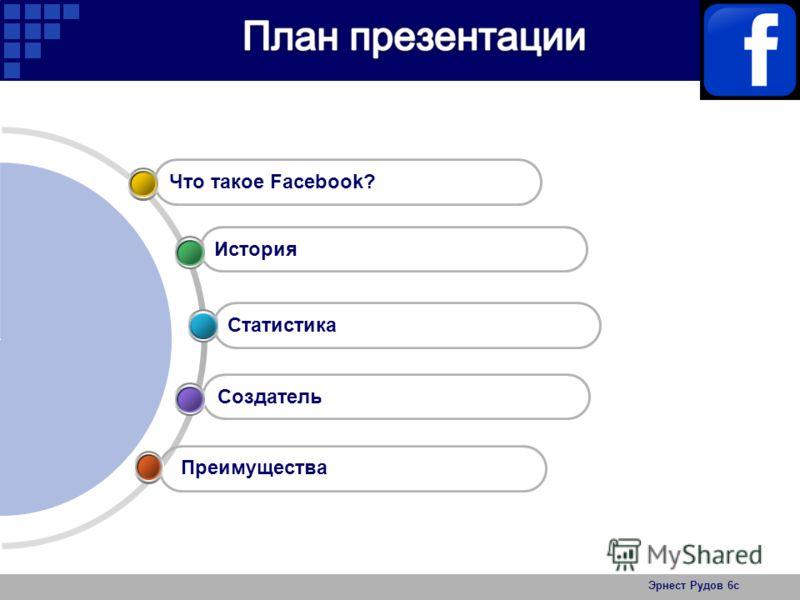 Эрнест Рудов 6с Создатель Статистика История Что такое Facebook? Преимущества