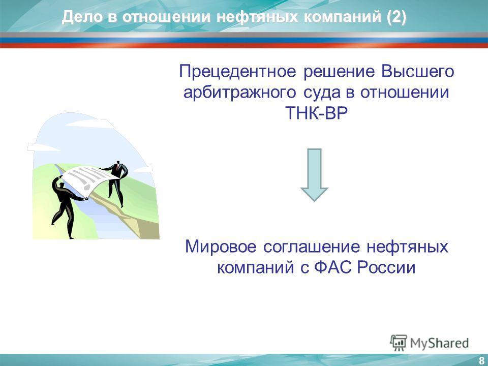 8 Дело в отношении нефтяных компаний (2) Прецедентное решение Высшего арбитражного суда в отношении ТНК-BP Мировое соглашение нефтяных компаний с ФАС России