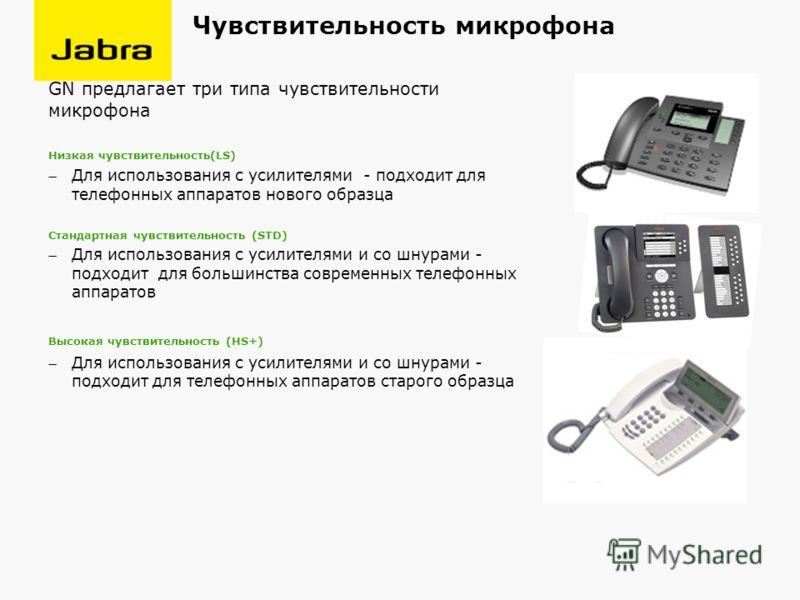 Чувствительность микрофона GN предлагает три типа чувствительности микрофона Низкая чувствительность(LS) Для использования с усилителями - подходит для телефонных аппаратов нового образца Стандартная чувствительность (STD) Для использования с усилите