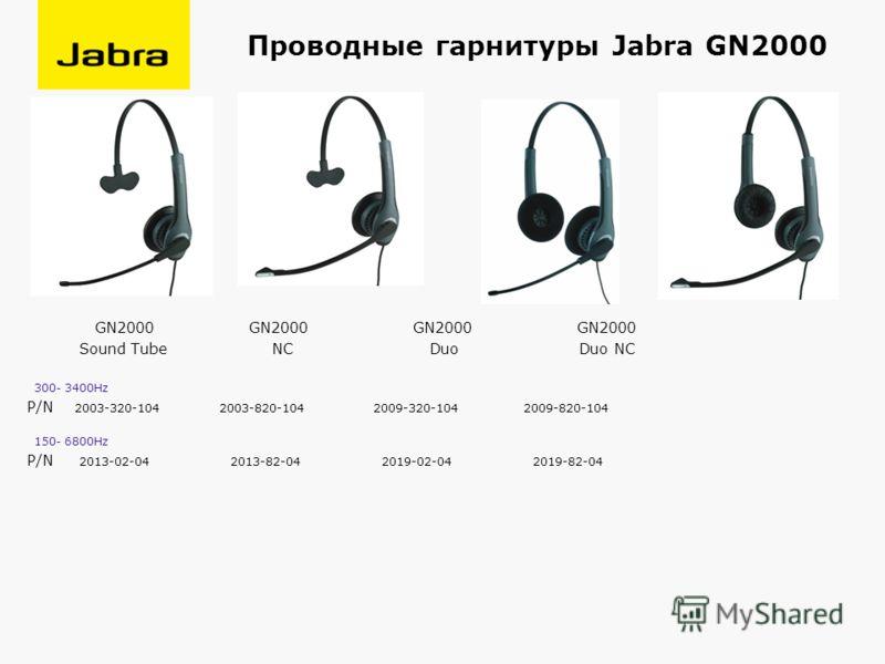 Проводные гарнитуры Jabra GN2000 GN2000 GN2000 GN2000 GN2000 Sound Tube NC Duo Duo NC 300- 3400Hz P/N 2003-320-104 2003-820-104 2009-320-104 2009-820-104 150- 6800Hz P/N 2013-02-04 2013-82-04 2019-02-04 2019-82-04