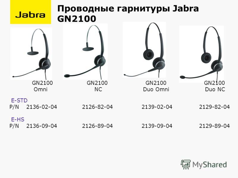 Проводные гарнитуры Jabra GN2100 GN2100 GN2100 GN2100 GN2100 Omni NC Duo Omni Duo NC E-STD P/N 2136-02-04 2126-82-04 2139-02-04 2129-82-04 E-HS P/N 2136-09-04 2126-89-04 2139-09-04 2129-89-04