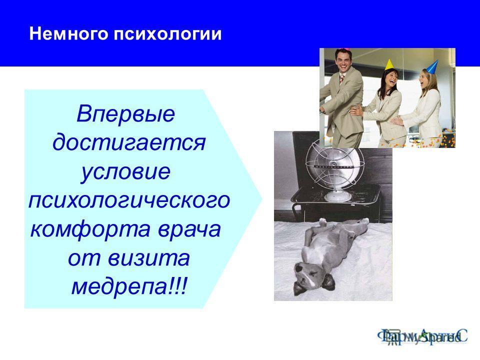 Немного психологии Впервые достигается условие психологического комфорта врача от визита медрепа!!!