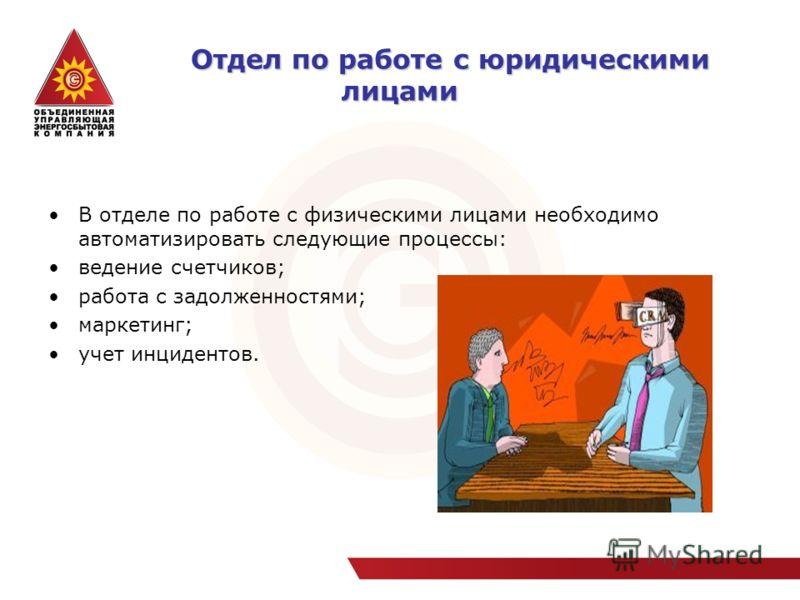 Отдел по работе с юридическими лицами Отдел по работе с юридическими лицами В отделе по работе с физическими лицами необходимо автоматизировать следующие процессы: ведение счетчиков; работа с задолженностями; маркетинг; учет инцидентов.
