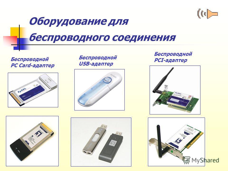 Оборудование для беспроводного соединения Беспроводной PC Card-адаптер Беспроводной USB-адаптер Беспроводной PCI-адаптер