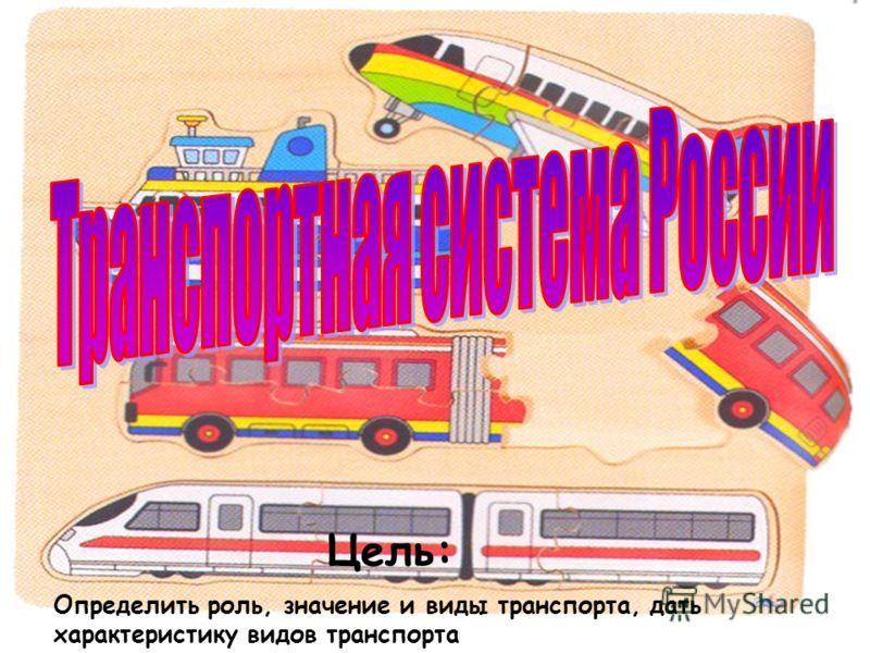 Цель: Определить роль, значение и виды транспорта, дать характеристику видов транспорта