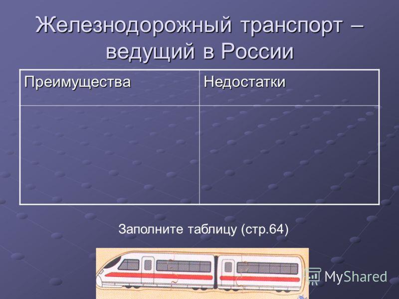 Железнодорожный транспорт – ведущий в России ПреимуществаНедостатки Заполните таблицу (стр.64)
