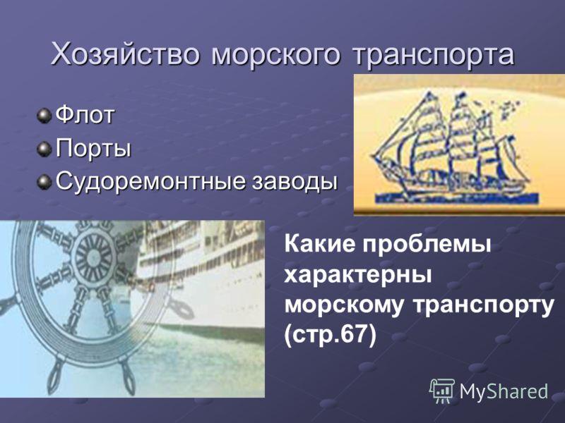 Хозяйство морского транспорта Флот Порты Судоремонтные заводы Какие проблемы характерны морскому транспорту (стр.67)