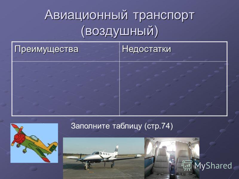 Авиационный транспорт (воздушный) ПреимуществаНедостатки Заполните таблицу (стр.74)