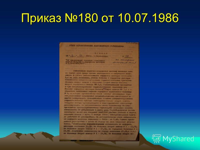 Приказ 180 от 10.07.1986