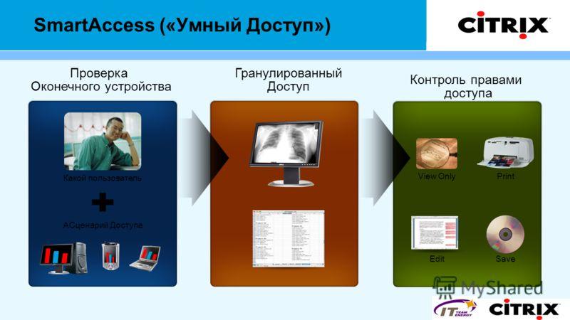 SmartAccess («Умный Доступ») Проверка Оконечного устройства AСценарий Доступа Какой пользователь Гранулированный Доступ Контроль правами доступа Edit View OnlyPrint Save